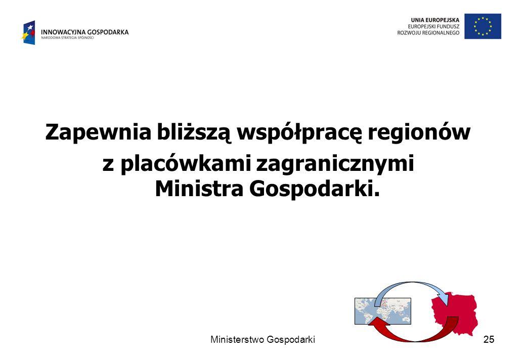 25 Zapewnia bliższą współpracę regionów z placówkami zagranicznymi Ministra Gospodarki.
