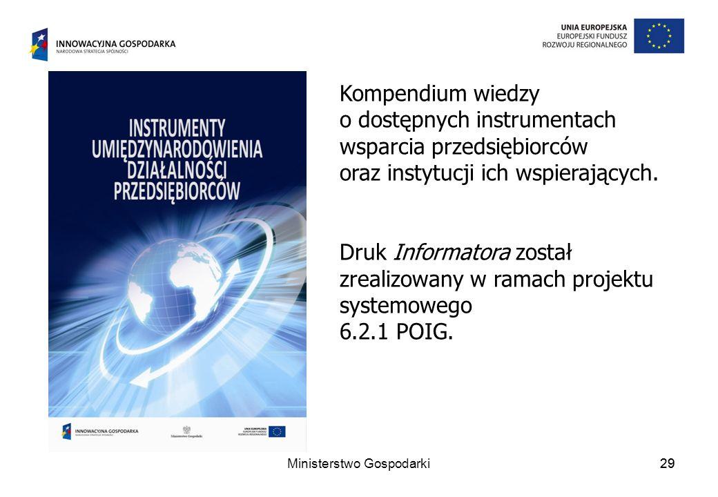29 Kompendium wiedzy o dostępnych instrumentach wsparcia przedsiębiorców oraz instytucji ich wspierających.