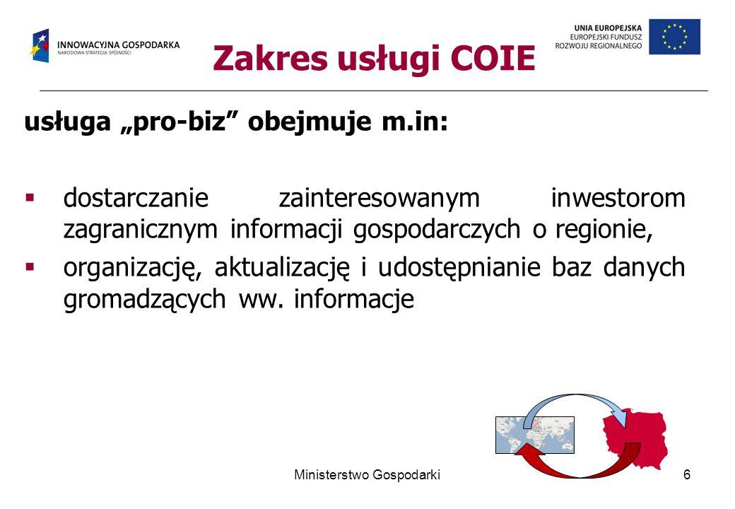 Zakres usługi COIE usługa pro-biz obejmuje m.in: dostarczanie zainteresowanym inwestorom zagranicznym informacji gospodarczych o regionie, organizację, aktualizację i udostępnianie baz danych gromadzących ww.