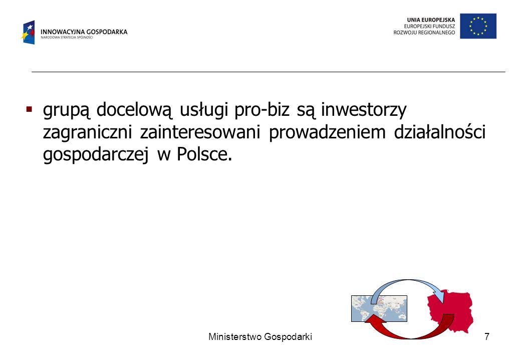 grupą docelową usługi pro-biz są inwestorzy zagraniczni zainteresowani prowadzeniem działalności gospodarczej w Polsce.