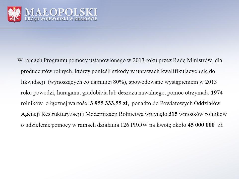 W ramach Programu pomocy ustanowionego w 2013 roku przez Radę Ministrów, dla producentów rolnych, którzy ponieśli szkody w uprawach kwalifikujących si