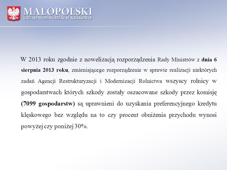 W 2013 roku zgodnie z nowelizacją rozporządzenia Rady Ministrów z dnia 6 sierpnia 2013 roku, zmieniającego rozporządzenie w sprawie realizacji niektór