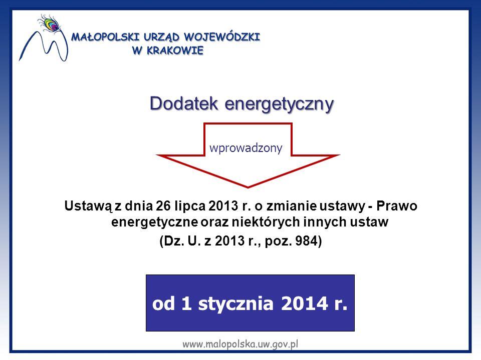 Dodatek energetyczny Ustawą z dnia 26 lipca 2013 r.