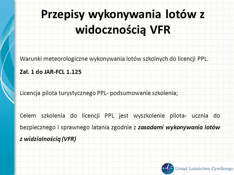 Przepisy wykonywania lotów z widocznością VFR Warunki meteorologiczne wykonywania lotów szkolnych do licencji PPL.