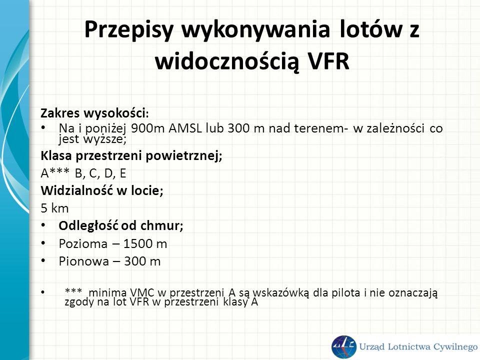 Przepisy wykonywania lotów z widocznością VFR Zakres wysokości : Na i poniżej 900m AMSL lub 300 m nad terenem- w zależności co jest wyższe; Klasa przestrzeni powietrznej; A*** B, C, D, E Widzialność w locie; 5 km Odległość od chmur; Pozioma – 1500 m Pionowa – 300 m *** minima VMC w przestrzeni A są wskazówką dla pilota i nie oznaczają zgody na lot VFR w przestrzeni klasy A