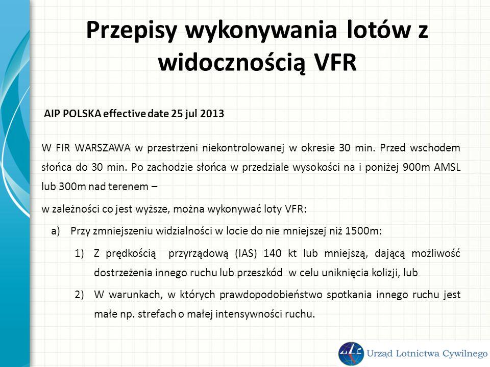 Przepisy wykonywania lotów z widocznością VFR b) śmigłowców, przy widzialności w locie nie mniejszej niż 1000m, jeżeli wykonują manewry z prędkością, która umożliwia zauważenie innego ruchu lub przeszkody w czasie wystarczającym do uniknięcia kolizji.