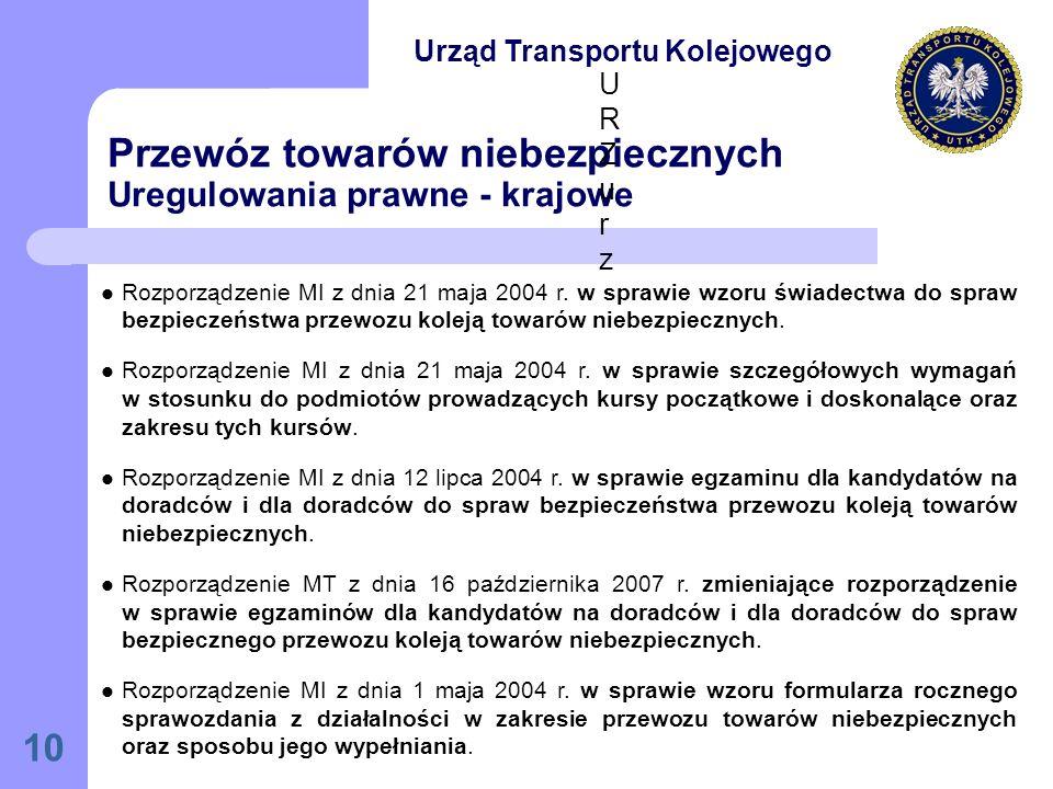 10 Przewóz towarów niebezpiecznych Uregulowania prawne - krajowe Rozporządzenie MI z dnia 21 maja 2004 r.