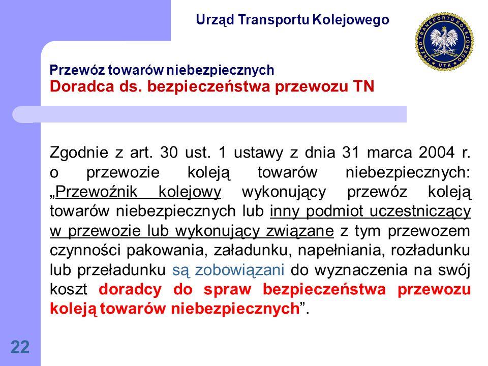 22 Przewóz towarów niebezpiecznych Doradca ds.bezpieczeństwa przewozu TN Zgodnie z art.