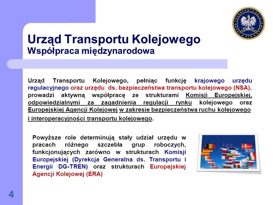 4 Urząd Transportu Kolejowego Współpraca międzynarodowa Urząd Transportu Kolejowego, pełniąc funkcję krajowego urzędu regulacyjnego oraz urzędu ds.
