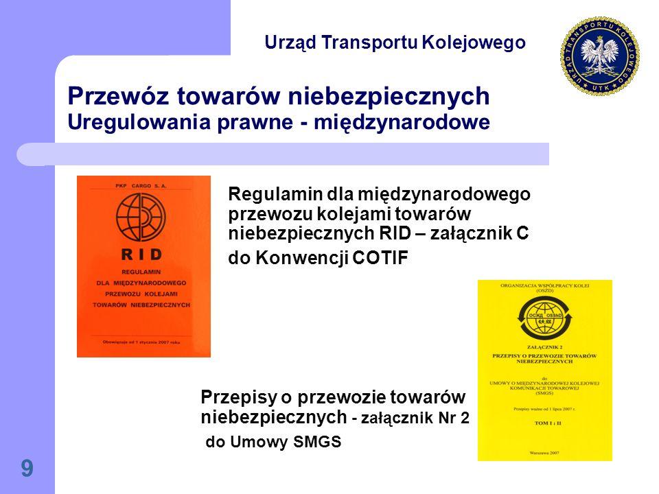 9 Przewóz towarów niebezpiecznych Uregulowania prawne - międzynarodowe Przepisy o przewozie towarów niebezpiecznych - załącznik Nr 2 do Umowy SMGS Regulamin dla międzynarodowego przewozu kolejami towarów niebezpiecznych RID – załącznik C do Konwencji COTIF Urząd Transportu Kolejowego