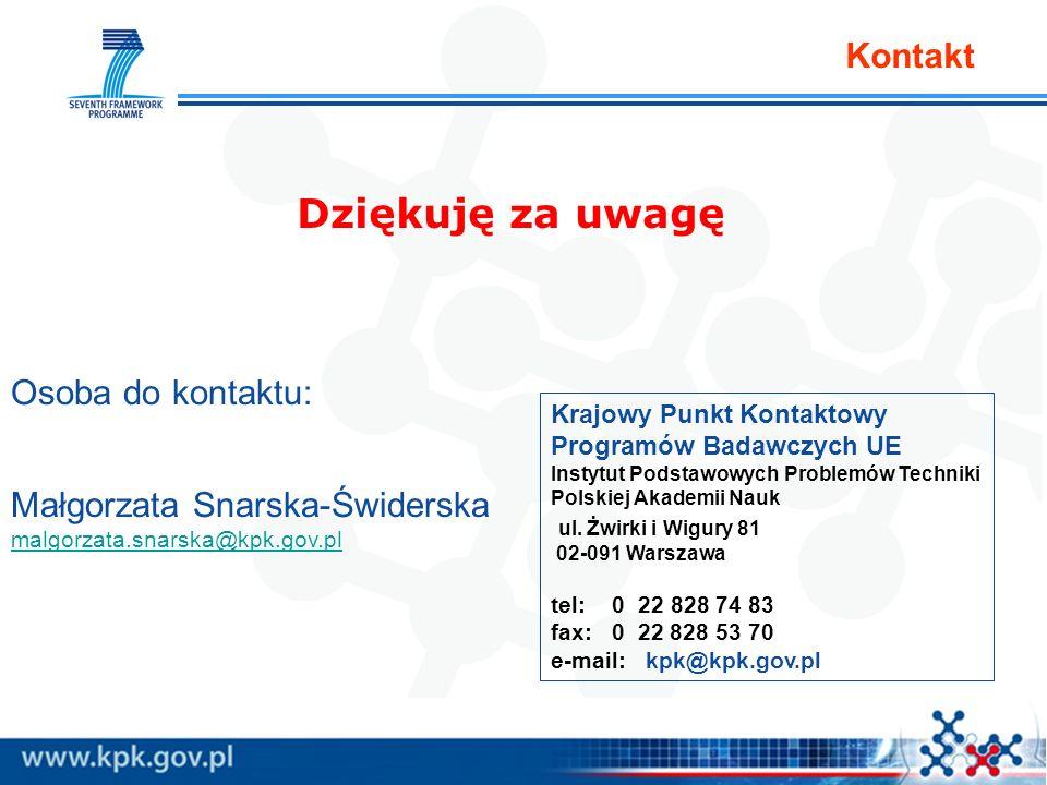 Kontakt Dziękuję za uwagę Krajowy Punkt Kontaktowy Programów Badawczych UE Instytut Podstawowych Problemów Techniki Polskiej Akademii Nauk ul.