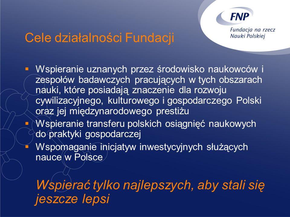 Cele działalności Fundacji Wspieranie uznanych przez środowisko naukowców i zespołów badawczych pracujących w tych obszarach nauki, które posiadają znaczenie dla rozwoju cywilizacyjnego, kulturowego i gospodarczego Polski oraz jej międzynarodowego prestiżu Wspieranie transferu polskich osiągnięć naukowych do praktyki gospodarczej Wspomaganie inicjatyw inwestycyjnych służących nauce w Polsce Wspierać tylko najlepszych, aby stali się jeszcze lepsi