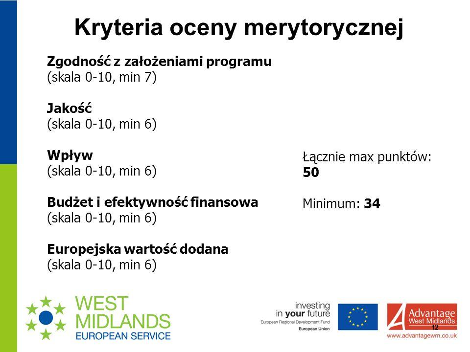 Kryteria oceny merytorycznej 12 Zgodność z założeniami programu (skala 0-10, min 7) Jakość (skala 0-10, min 6) Wpływ (skala 0-10, min 6) Budżet i efektywność finansowa (skala 0-10, min 6) Europejska wartość dodana (skala 0-10, min 6) Łącznie max punktów: 50 Minimum: 34