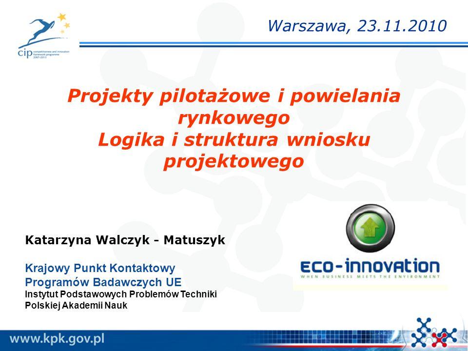 Projekty pilotażowe i powielania rynkowego Logika i struktura wniosku projektowego Katarzyna Walczyk - Matuszyk Krajowy Punkt Kontaktowy Programów Bad