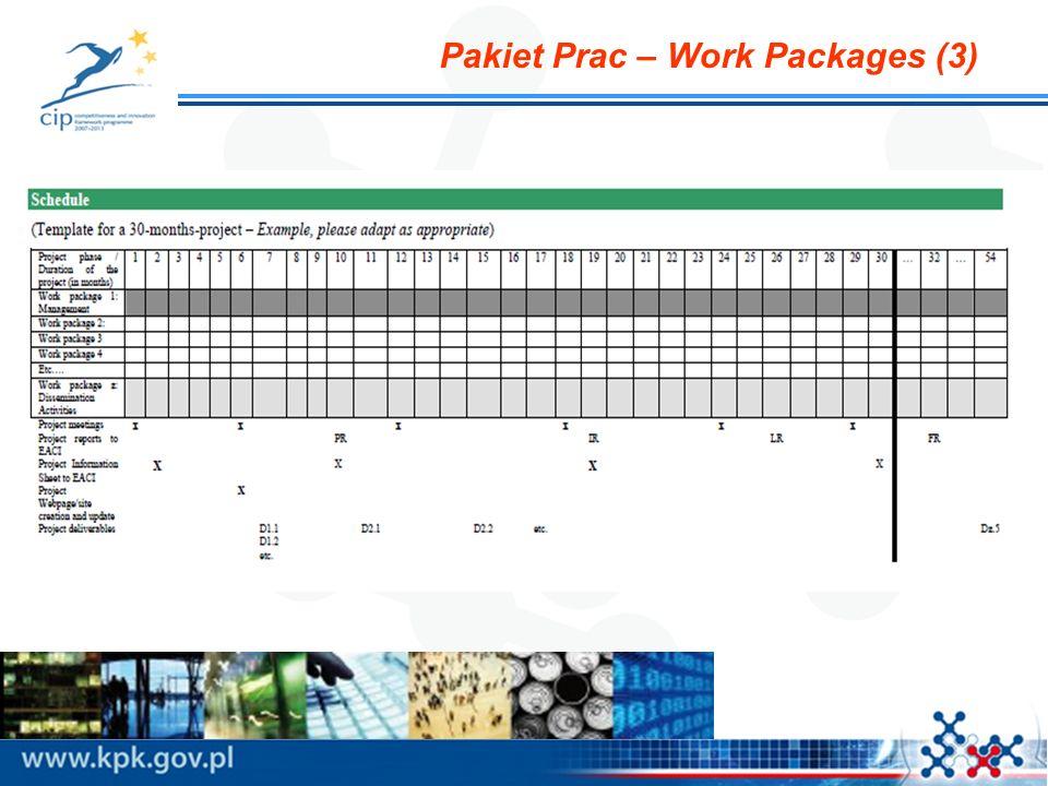 Pakiet Prac – Work Packages (3)