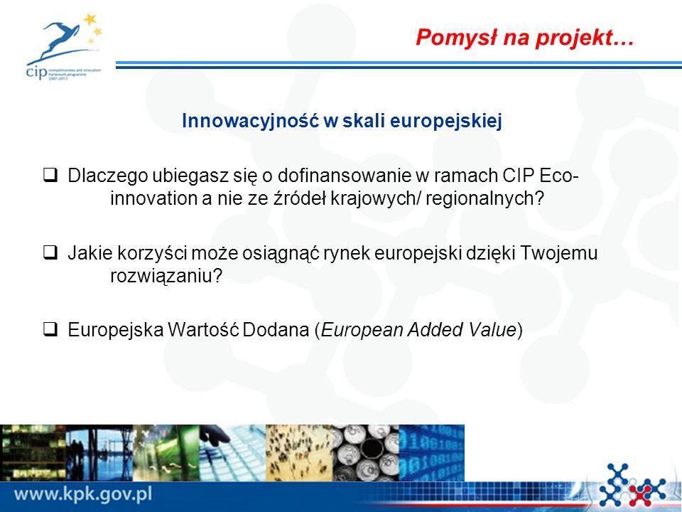Innowacyjność w skali europejskiej Dlaczego ubiegasz się o dofinansowanie w ramach CIP Eco- innovation a nie ze źródeł krajowych/ regionalnych? Jakie