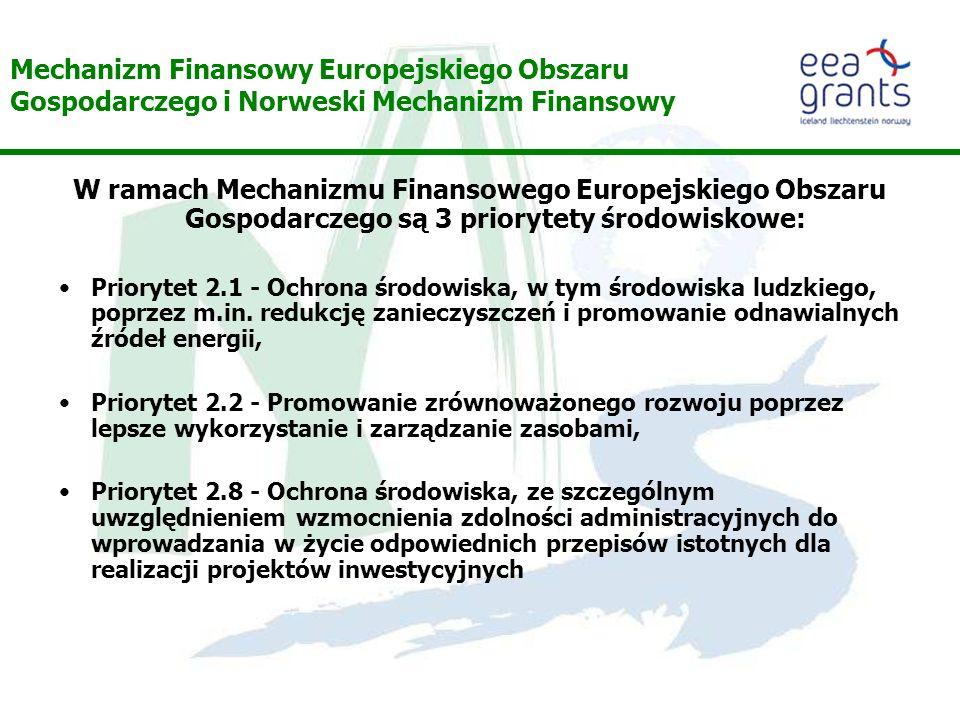 Mechanizm Finansowy Europejskiego Obszaru Gospodarczego i Norweski Mechanizm Finansowy W ramach Mechanizmu Finansowego Europejskiego Obszaru Gospodarczego są 3 priorytety środowiskowe: Priorytet 2.1 - Ochrona środowiska, w tym środowiska ludzkiego, poprzez m.in.