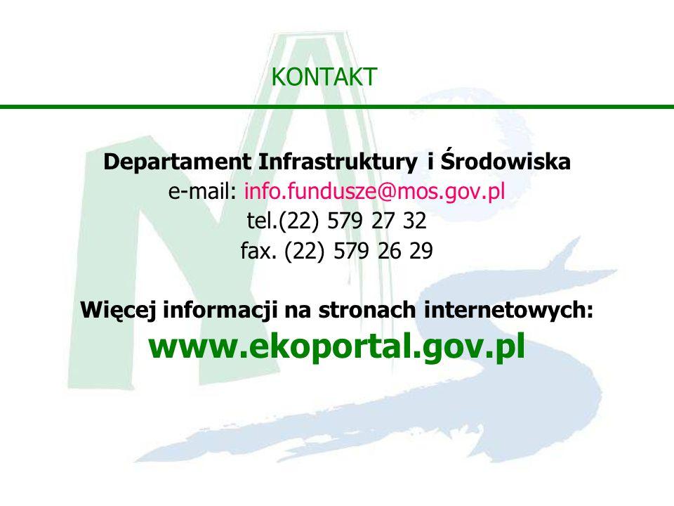 KONTAKT Departament Infrastruktury i Środowiska e-mail: info.fundusze@mos.gov.pl tel.(22) 579 27 32 fax. (22) 579 26 29 Więcej informacji na stronach