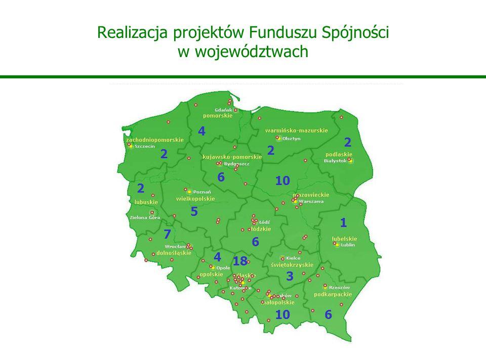 Realizacja projektów Funduszu Spójności w województwach 10 18 10 3 5 4 6 6 4 6 2 7 1 2 2 2
