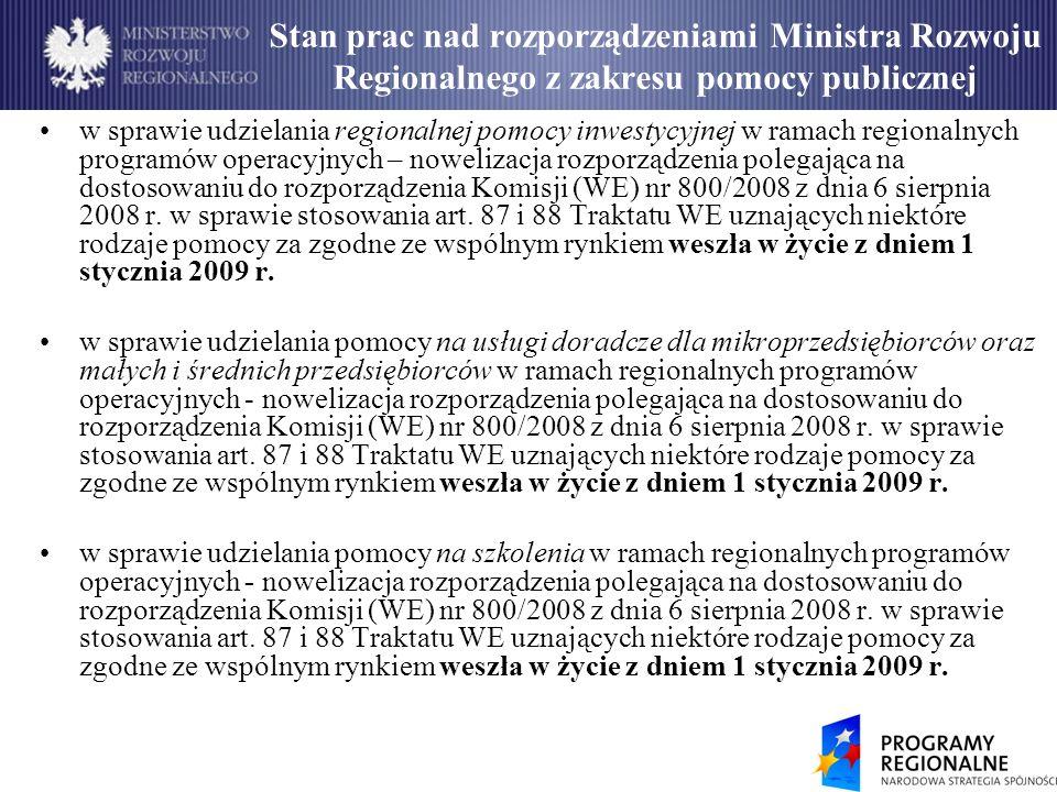 Stan prac nad rozporządzeniami Ministra Rozwoju Regionalnego z zakresu pomocy publicznej w sprawie udzielania regionalnej pomocy inwestycyjnej w ramach regionalnych programów operacyjnych – nowelizacja rozporządzenia polegająca na dostosowaniu do rozporządzenia Komisji (WE) nr 800/2008 z dnia 6 sierpnia 2008 r.