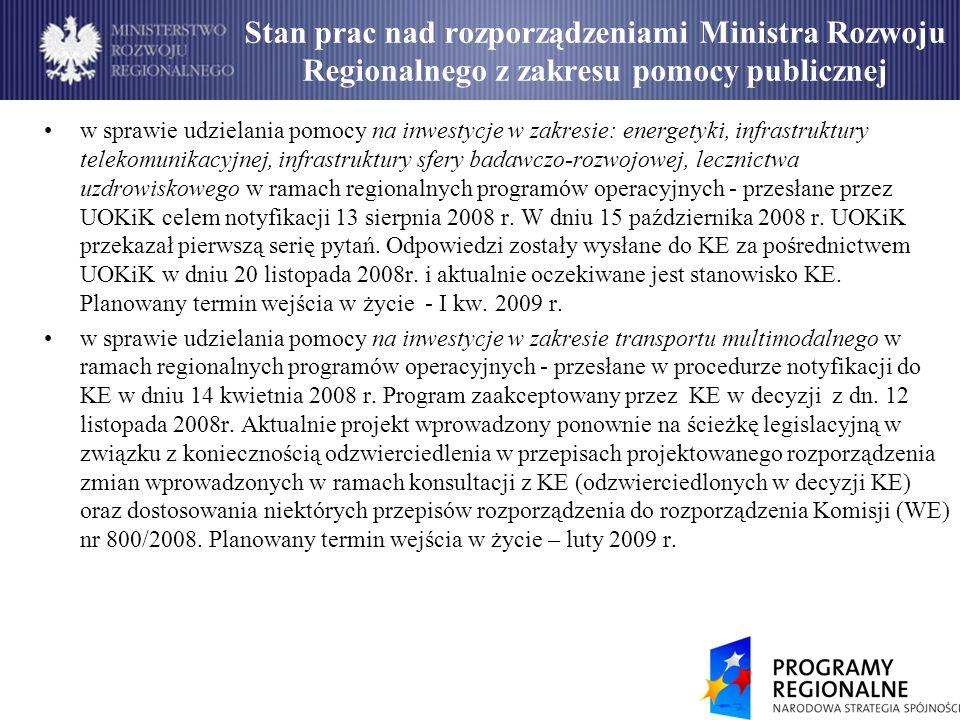 Stan prac nad rozporządzeniami Ministra Rozwoju Regionalnego z zakresu pomocy publicznej w sprawie udzielania pomocy na inwestycje w zakresie: energetyki, infrastruktury telekomunikacyjnej, infrastruktury sfery badawczo-rozwojowej, lecznictwa uzdrowiskowego w ramach regionalnych programów operacyjnych - przesłane przez UOKiK celem notyfikacji 13 sierpnia 2008 r.