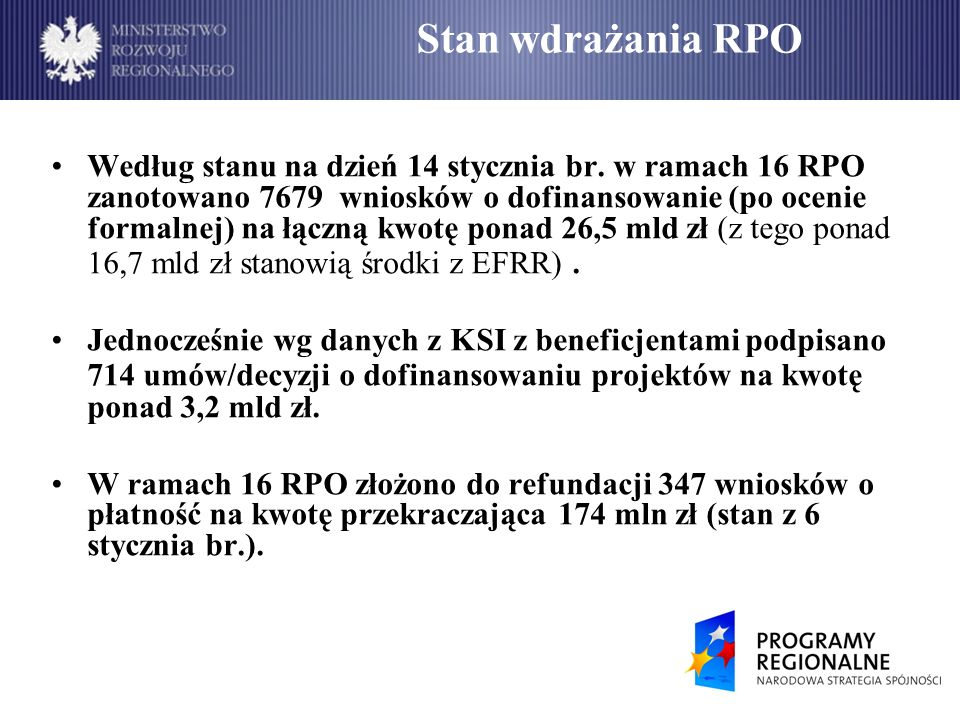 Stan wdrażania RPO – wnioski o dofinansowanie Według danych z KSI (stan na dzień 14 stycznia 2009 r.), najwięcej złożonych wniosków zanotowano w województwie śląskim.