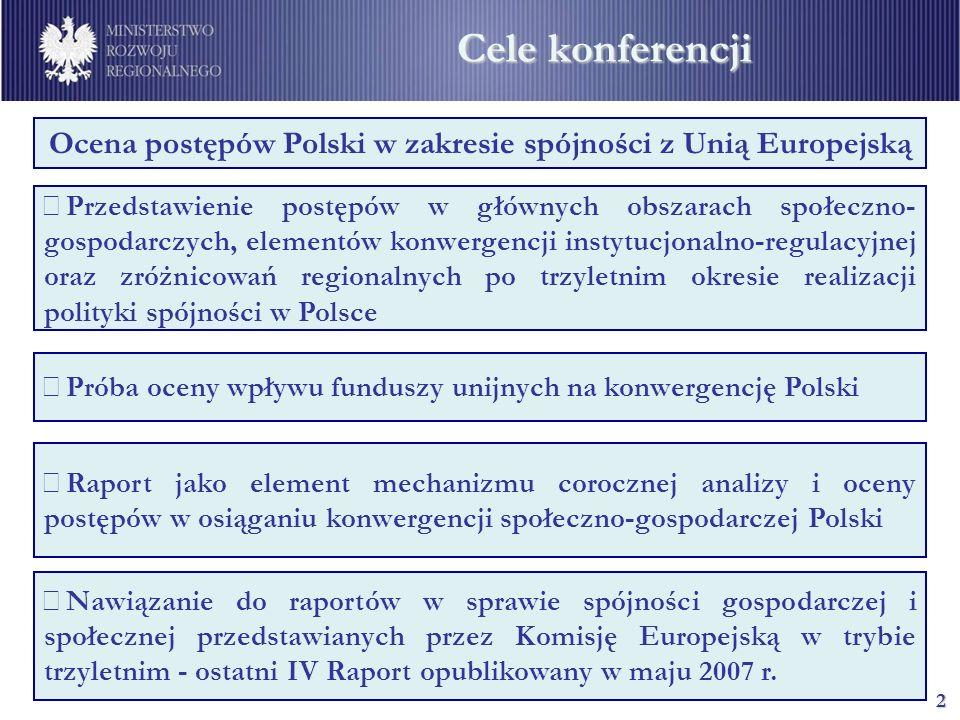2 Cele konferencji Ocena postępów Polski w zakresie spójności z Unią Europejską Przedstawienie postępów w głównych obszarach społeczno- gospodarczych,