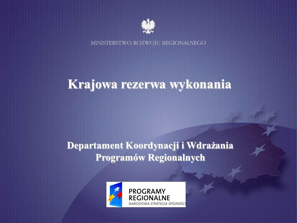 Krajowa rezerwa wykonania Departament Koordynacji i Wdrażania Programów Regionalnych
