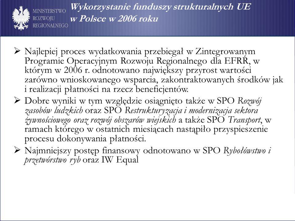 Wykorzystanie funduszy strukturalnych UE w Polsce w 2006 roku Najlepiej proces wydatkowania przebiegał w Zintegrowanym Programie Operacyjnym Rozwoju Regionalnego dla EFRR, w którym w 2006 r.