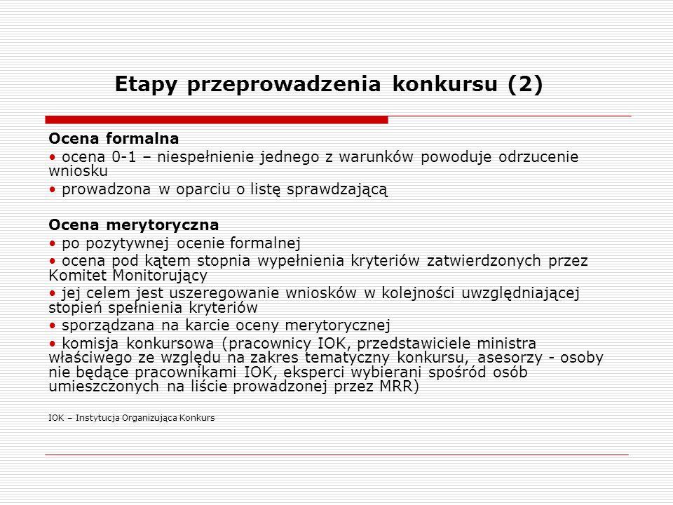 Etapy przeprowadzenia konkursu (2) Ocena formalna ocena 0-1 – niespełnienie jednego z warunków powoduje odrzucenie wniosku prowadzona w oparciu o list
