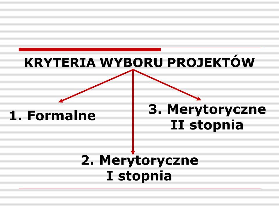KRYTERIA WYBORU PROJEKTÓW 1. Formalne 2. Merytoryczne I stopnia 3. Merytoryczne II stopnia