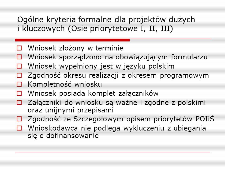 Ogólne kryteria formalne dla projektów dużych i kluczowych (Osie priorytetowe I, II, III) Wniosek złożony w terminie Wniosek sporządzono na obowiązują