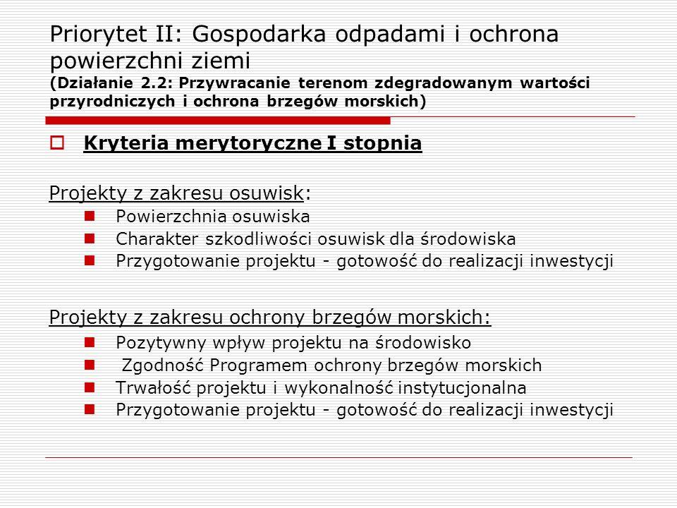 Priorytet II: Gospodarka odpadami i ochrona powierzchni ziemi (Działanie 2.2: Przywracanie terenom zdegradowanym wartości przyrodniczych i ochrona brz