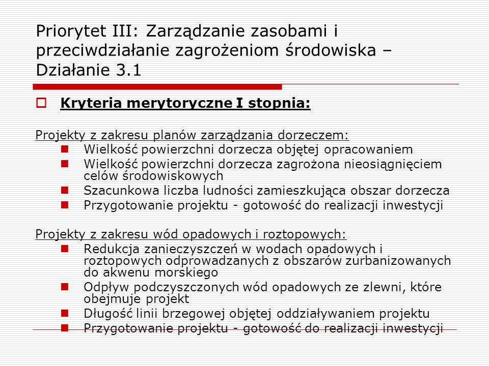 Kryteria merytoryczne I stopnia: Projekty z zakresu planów zarządzania dorzeczem: Wielkość powierzchni dorzecza objętej opracowaniem Wielkość powierzc