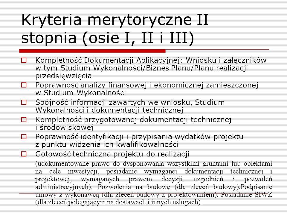 Kryteria merytoryczne II stopnia (osie I, II i III) Kompletność Dokumentacji Aplikacyjnej: Wniosku i załączników w tym Studium Wykonalności/Biznes Pla
