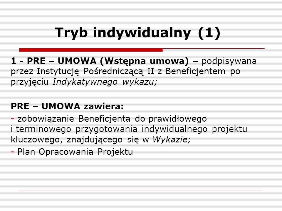 Tryb indywidualny (1) 1 - PRE – UMOWA (Wstępna umowa) – podpisywana przez Instytucję Pośredniczącą II z Beneficjentem po przyjęciu Indykatywnego wykaz