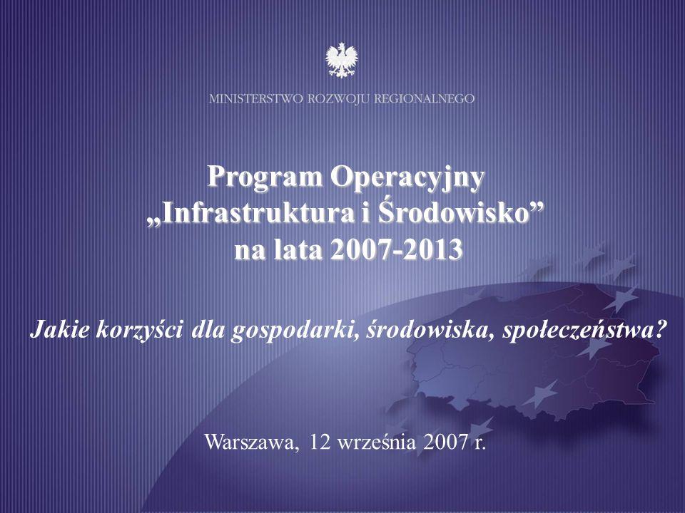 Cel i główny wskaźnik Cel: Podniesienie atrakcyjności inwestycyjnej Polski i jej regionów poprzez rozwój infrastruktury … Wskaźnik: pozycja Polski w rankingu światowej konkurencyjności w obszarze infrastruktury, ogłaszanym corocznie przez niezależny międzynarodowy instytut IMD - niezależny ranking, porównujący najważniejsze kraje świata, - uwzględnia obszary wspierane przez program operacyjny - obecnie Polska zajmuje w nim dalekie 50.