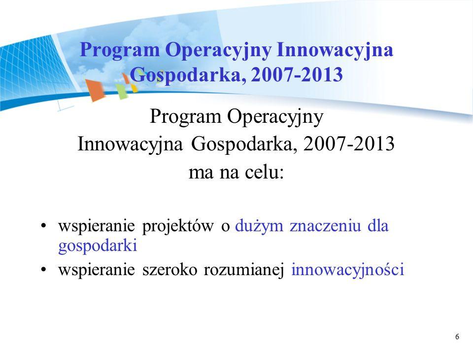 6 Program Operacyjny Innowacyjna Gospodarka, 2007-2013 Program Operacyjny Innowacyjna Gospodarka, 2007-2013 ma na celu: wspieranie projektów o dużym znaczeniu dla gospodarki wspieranie szeroko rozumianej innowacyjności