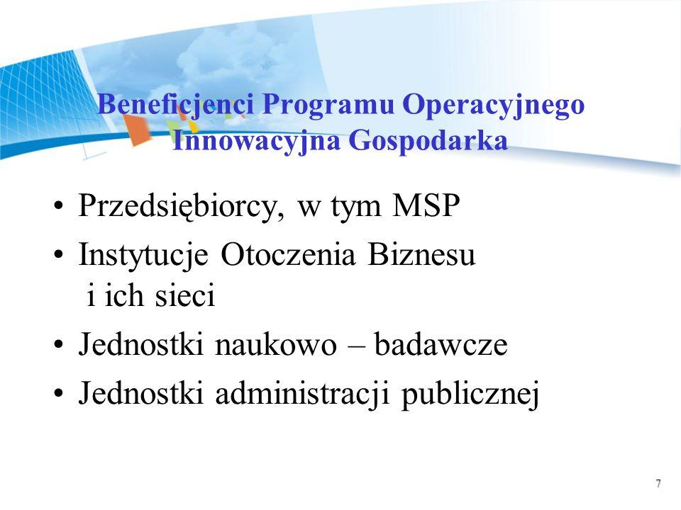 7 Beneficjenci Programu Operacyjnego Innowacyjna Gospodarka Przedsiębiorcy, w tym MSP Instytucje Otoczenia Biznesu i ich sieci Jednostki naukowo – badawcze Jednostki administracji publicznej