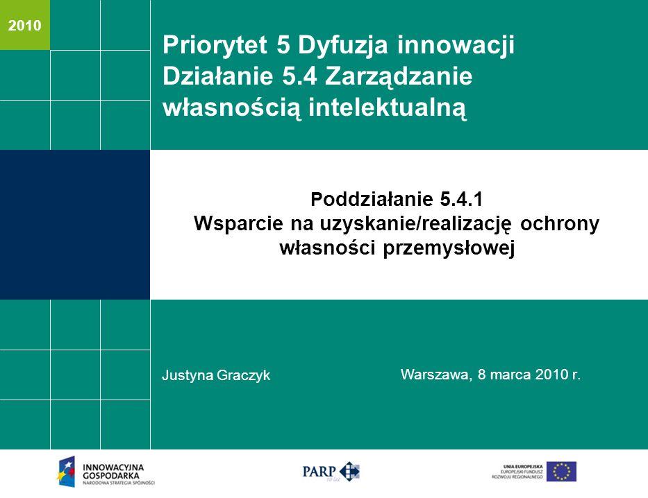 2010 Priorytet 5 Dyfuzja innowacji Działanie 5.4 Zarządzanie własnością intelektualną Justyna Graczyk Warszawa, 8 marca 20 10 r. P oddziałanie 5.4.1 W