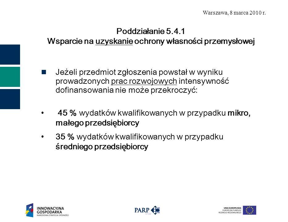 Warszawa, 8 marca 2010 r. Jeżeli przedmiot zgłoszenia powstał w wyniku prowadzonych prac rozwojowych intensywność dofinansowania nie może przekroczyć: