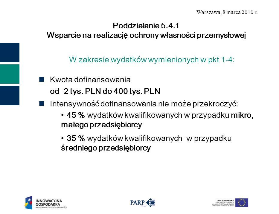 Warszawa, 8 marca 2010 r. W zakresie wydatków wymienionych w pkt 1-4: Kwota dofinansowania od 2 tys. PLN do 400 tys. PLN Intensywność dofinansowania n