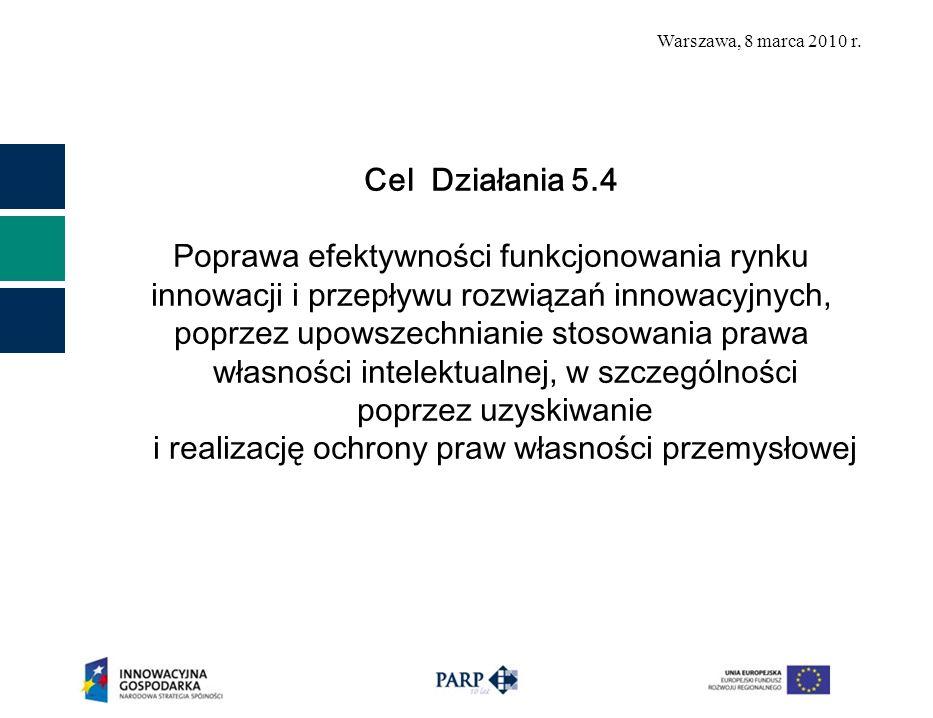 Warszawa, 8 marca 2010 r. Cel Działania 5.4 Poprawa efektywności funkcjonowania rynku innowacji i przepływu rozwiązań innowacyjnych, poprzez upowszech