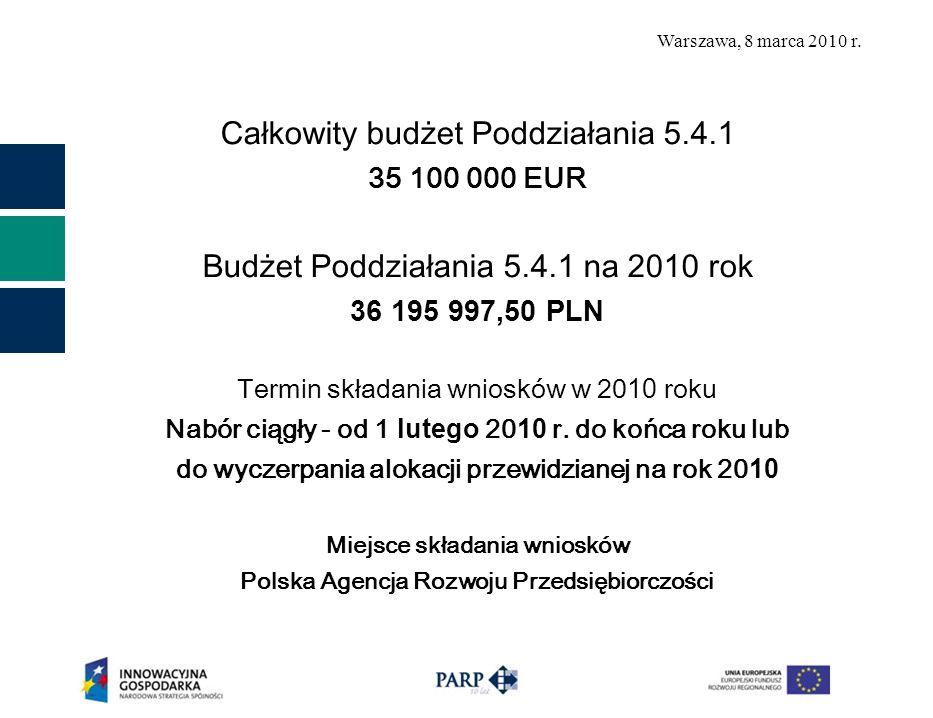 Warszawa, 8 marca 2010 r. Całkowity budżet Poddziałania 5.4.1 35 100 000 EUR Budżet Poddziałania 5.4.1 na 20 10 rok 36 195 997,50 PLN Termin składania
