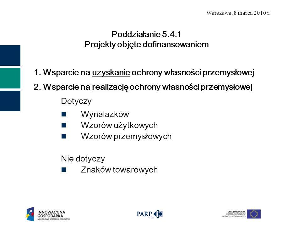 Warszawa, 8 marca 2010 r. 1. Wsparcie na uzyskanie ochrony własności przemysłowej 2. Wsparcie na realizację ochrony własności przemysłowej Dotyczy Wyn