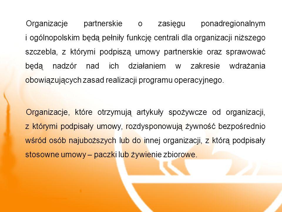 Organizacje partnerskie o zasięgu ponadregionalnym i ogólnopolskim będą pełniły funkcję centrali dla organizacji niższego szczebla, z którymi podpiszą