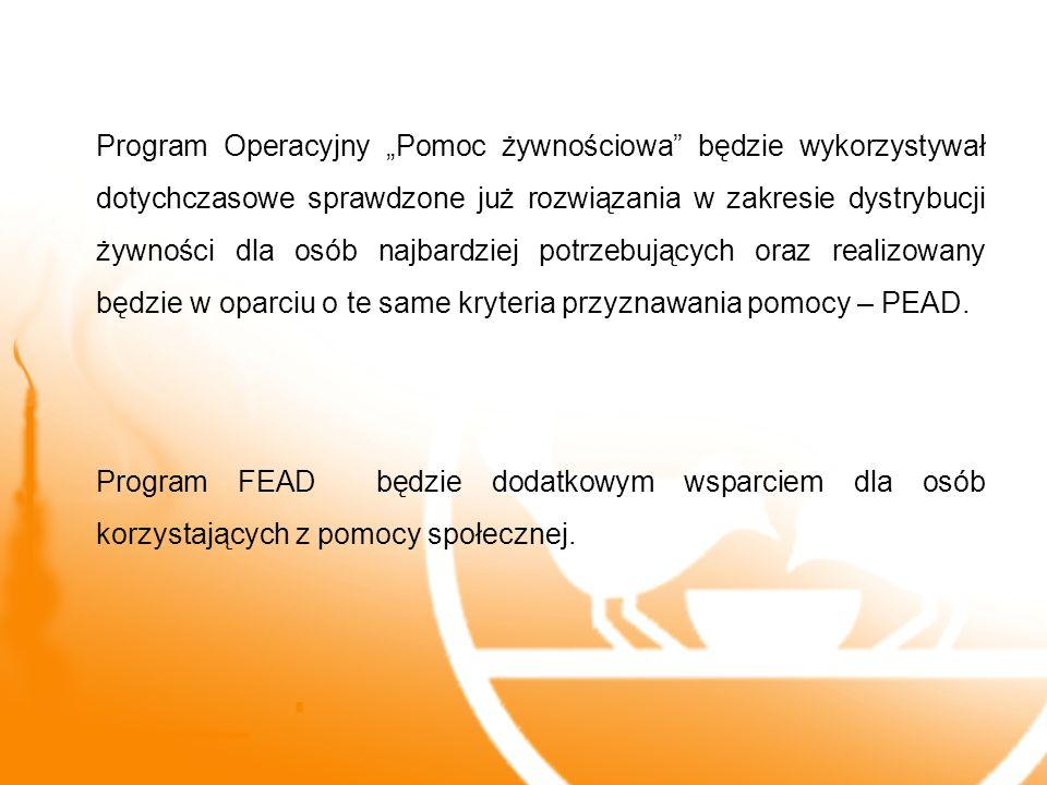 Program Operacyjny Pomoc żywnościowa będzie wykorzystywał dotychczasowe sprawdzone już rozwiązania w zakresie dystrybucji żywności dla osób najbardzie