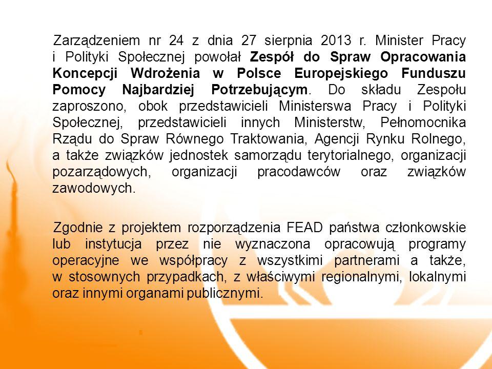 Zarządzeniem nr 24 z dnia 27 sierpnia 2013 r. Minister Pracy i Polityki Społecznej powołał Zespół do Spraw Opracowania Koncepcji Wdrożenia w Polsce Eu