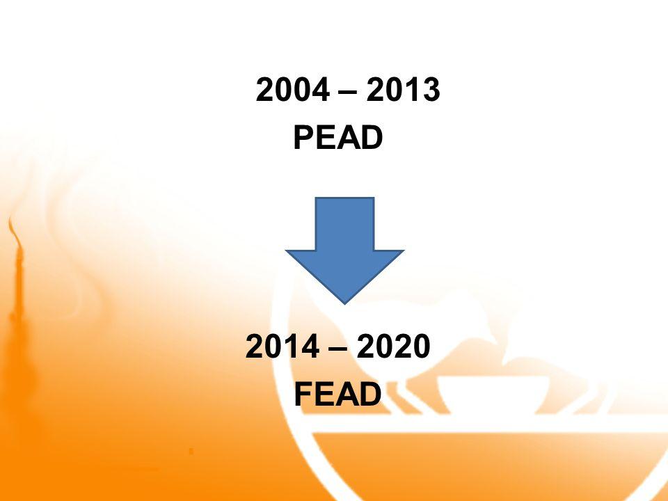 2004 – 2013 PEAD 2014 – 2020 FEAD