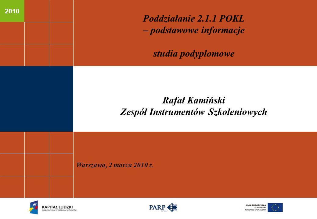 2010 Poddziałanie 2.1.1 POKL – podstawowe informacje studia podyplomowe Rafał Kamiński Zespół Instrumentów Szkoleniowych Warszawa, 2 marca 2010 r.